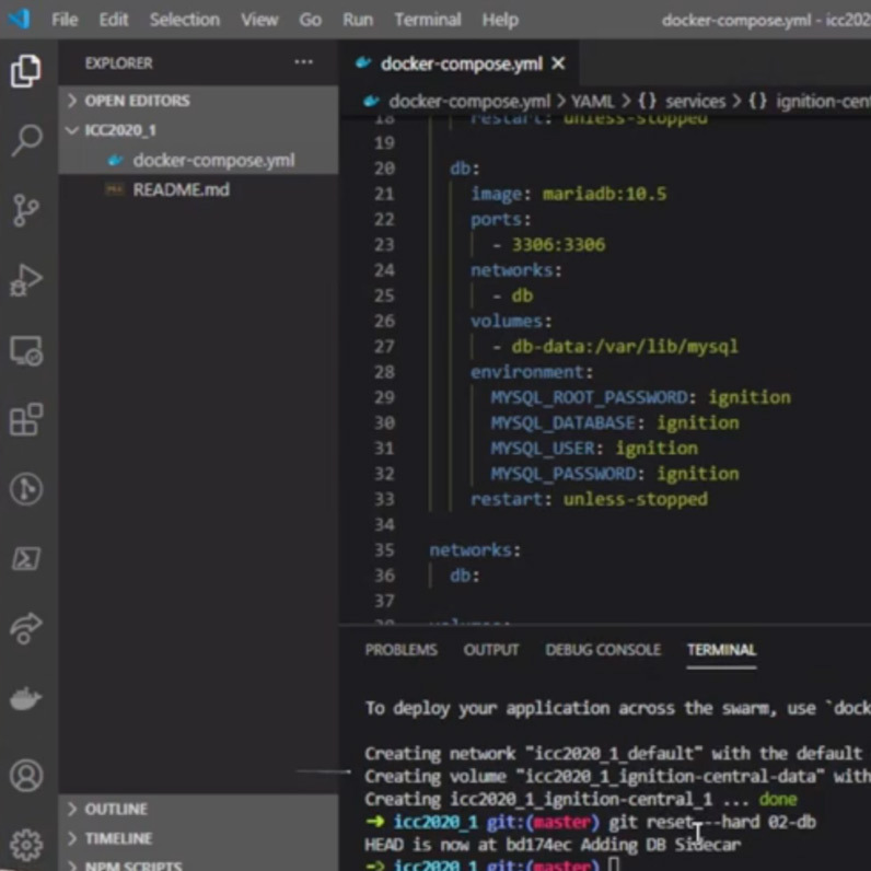 Screenshot of an IDE with a docker-compose.yml file open.